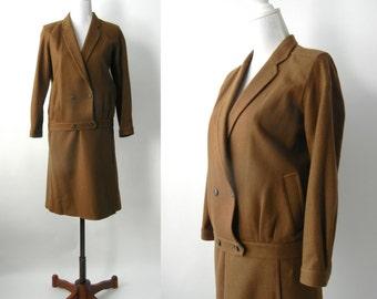 Vintage Women's Suit, Military Style, 1980 Khaki Suit, Vintage Brown Wool Skirt, Vintage Bomber Jacket, Green Skirt Suit, Retro 80s Suit