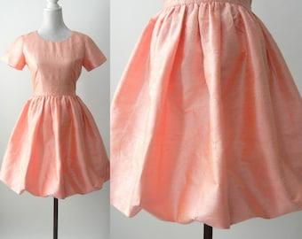 Vintage Pink Dress, 80s Pink Silk Dress, Retro 80s Bubble Dress, Retro 80s Dress, 1980 Pink Dress, Pink Summer Vintage Dress, Bridal