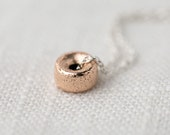 SALE - Glittering Rose Gold and Silver Necklace - Gift for Women - 14K Rose Gold Filled Sparkly Bead on Sterling Silver Chain