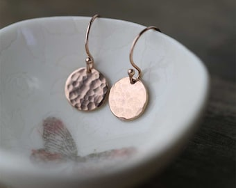 Hammered Rose Gold Filled Earrings, Gift for Women, Rose Gold Jewelry, Birthday Gift Idea, Gift for Wife, Drop Dangle Earrings Handmade