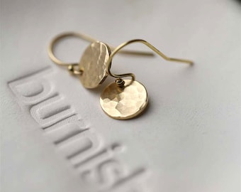 Tiny Hammered Gold Earrings Handmade, Summer Outdoors Gold Filled Handmade Jewelry, Gift for Women, Jewellery by Burnish