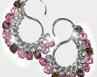 Signature S Earrings  with Swarovski  Crystals  ~  Plum Blossom