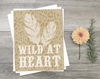 Digital Art Print Wild at Heart Modern Inspired Quote Print Motivational Inspirational Typography Feather Kraft Brown Neutral