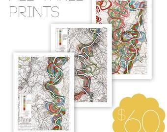 Meandering Mississippi River Print Bundle, Geology, Fisk Maps, River, Map, Art Print, Topography, Cartography, Vintage