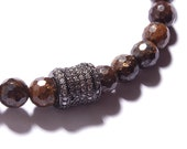 Men's Bracelet - Bead bracelet for men. Jewelry for men. Adjustable elastic bracelet. Bronzite beads with a Pave CZ charm.