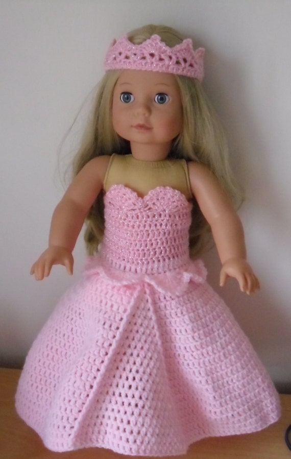 Crochet Dress Up Doll Pattern : Crochet pattern for princess dress and crown for 18 inch doll