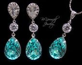 Teal Blue Teardrop Bridal Earrings and Necklace Swarovski Crystal Light Turquoise Wedding Jewelry Sterling Silver Sea Green Bridesmaid Gift