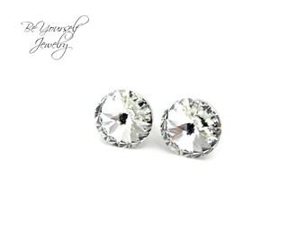 Swarovski Crystal Stud Earrings Small Crystal Solitaire Earrings Bridesmaid Jewelry Flower Girl Earrings Hypoallergenic Stainless Steel Gift