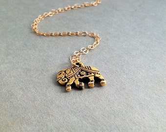 Gold Elephant Necklace. Gold Elephant Charm. Gold Filled Chain. Good Luck Jewelry. Animal Jewelry. Graduation Gift