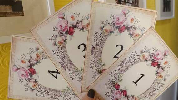 Roses frame table numbers, Roses wedding table number, Victorian ...