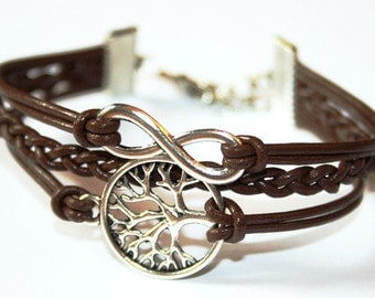 Tree of life & Eternity Infinity Leather Bracelet silvercolored- friendship forever gift girlfriend best friend twin sister daughter jewelry