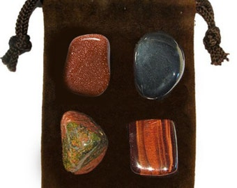 GROUNDING - Meditation Stone Set Crystal Healing Gemstone Kit, Tumbled Gemstone Healing Set, 4 Stones, Pouch, Card