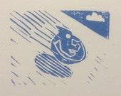 Holiday card--flying saucer sled--handmade linocut cards