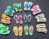 New Cool 24 Fimo Polymer Clay Fimo Flowers Beach Flip Flop Sandals Pendants 27mm Great Variety Yellow Pink Purple Green Blue