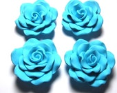 New 10 Large Rose Skyblue Turquoise Fimo Polymer Clay Flower Rose Beads 40mm or 4cm