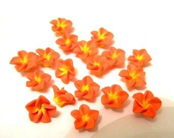 20 Orange Pink Yellow Polymer Clay Flowers Beads 15mm