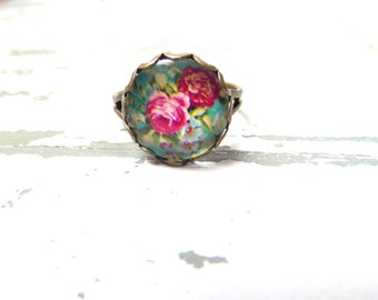 Adjustable Red roses Flower Ring ,  vintage flower Ring , Valentine's day gift , free shipping ring