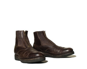 9 N | Vintage Jodphur Riding Boots Brown Leather Zipper Ankle Boots by A.M. Kroop & Sons
