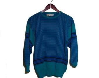 MEDIUM   Pringle of Scotland Sweater Green & Blue Strip Knit Top Jumper