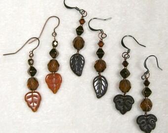 Beaded Leaves Earrings topaz brown coffee