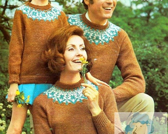 PDF Knitting pattern for Family Nordic Fair Isle Sweaters - Instant Download