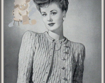 PDF Knitting Pattern for a 1940's Retro Bell Stitch Cardigan -Instant Download