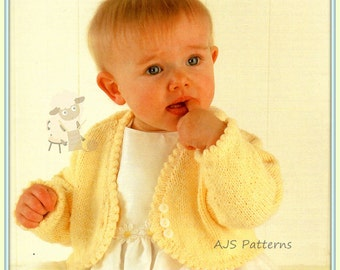 """PDF Knitting Pattern for a Baby or Little Girls Bolero To Fit  16"""" to 26"""" - Instant Download"""