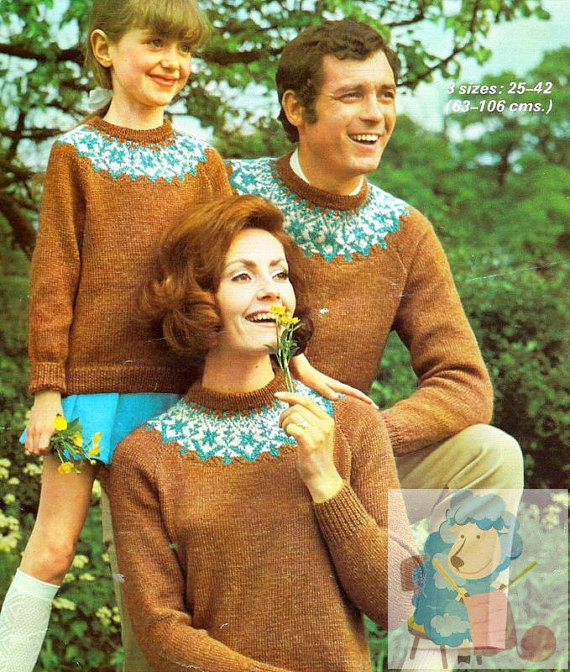 PDF Knitting pattern for Family Nordic Fair Isle Sweaters ...