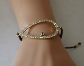 SALE - Evil Eye Bracelet, Adjustable Bracelet, Brown and Crystal Evil Eye Bracelet, Gift for her, Charm Crystal Evil Eye, Birthday gift, Goo