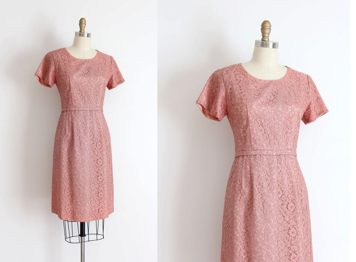 clearance vintage 1950s dress 50s pink lace evening dress