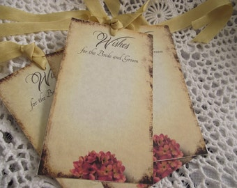 Wish Tree Tags  Creamy Color Shabby Chic Distress Edges Beautiful Rose Color Flowers ON Bottom Of Tag