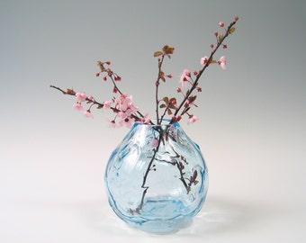 Hand Blown Glass Vase, Centerpiece, Seaglass Blue Ombre, Wedding Gift, Minimal Home Decor