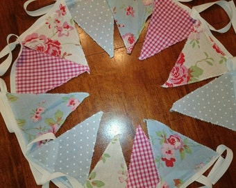 Bunting 3m or 2m Shabby Chic/Vintage Style Red/Blue/Pink/White...Rosali/Gingham /Spot wedding, fête, party
