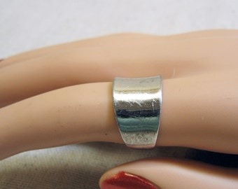 Wide Sterling Silver Band or Wedding Ring Size 7.75