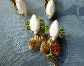 Vintage Milk Glass Green Rhinestone Pin Earrings Set Goldtone Setting Prong Set White Milk Glass Budding Flowers Leaves