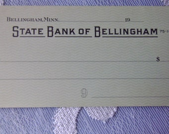 Blank Vintage Counter Checks Bellingham MN State Bank of Bellingham Minnesota Minn Unused Green