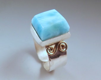 Larimar- Chunky Gem- Azure Blue Beauty- Caribbean Dream- Hammered Sterling Silver- AdjustableStyle Ring