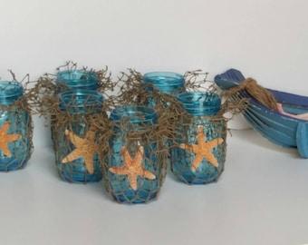Nautical Home Decor, Blue Mason Jars Fish Net & Sugar Starfish, 3