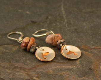 Trout earrings, jumping trout, trout jewelry, fishing gift, trout bum