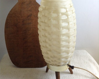 Space Age, Mod Plastic Beehive Lamp.  Wood Tripod legs.  Vintage 1960's.  White.  Mid century modern, Danish Modern, Eames era.