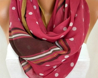Cherry & White Polka Dot Cotton Scarf, Fall Accessories, Shawl, Oversized Scarf, Cowl Scarf, Gift Ideas for Her,Women Fashion Accessories