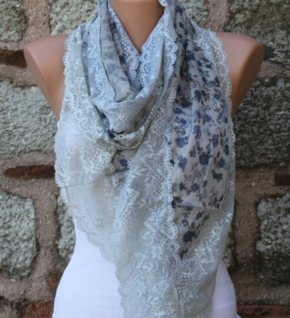 OOAK Scarf,Floral Lace Scarf, Wedding Shawl Cowl, Bridal Accessories Bridesmaid gift,for her,Women's Fashion Accessories, Best selling item