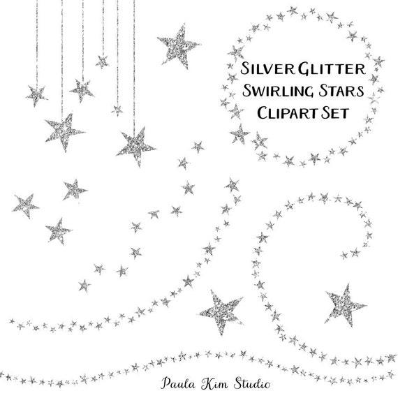 Sparkling Silver Star Clipart Glitter Clip Art Silver Star