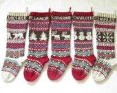 Personalized Knitted Christmas Stockings Set of 5 - Hand knitted Stockings Fair Isle Pattern Custom Holiday Xmas Stockings Knit