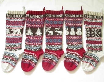 Personalized Knitted Christmas Stockings Set of 5 - Hand knitted Stockings Fair Isle Custom Holiday