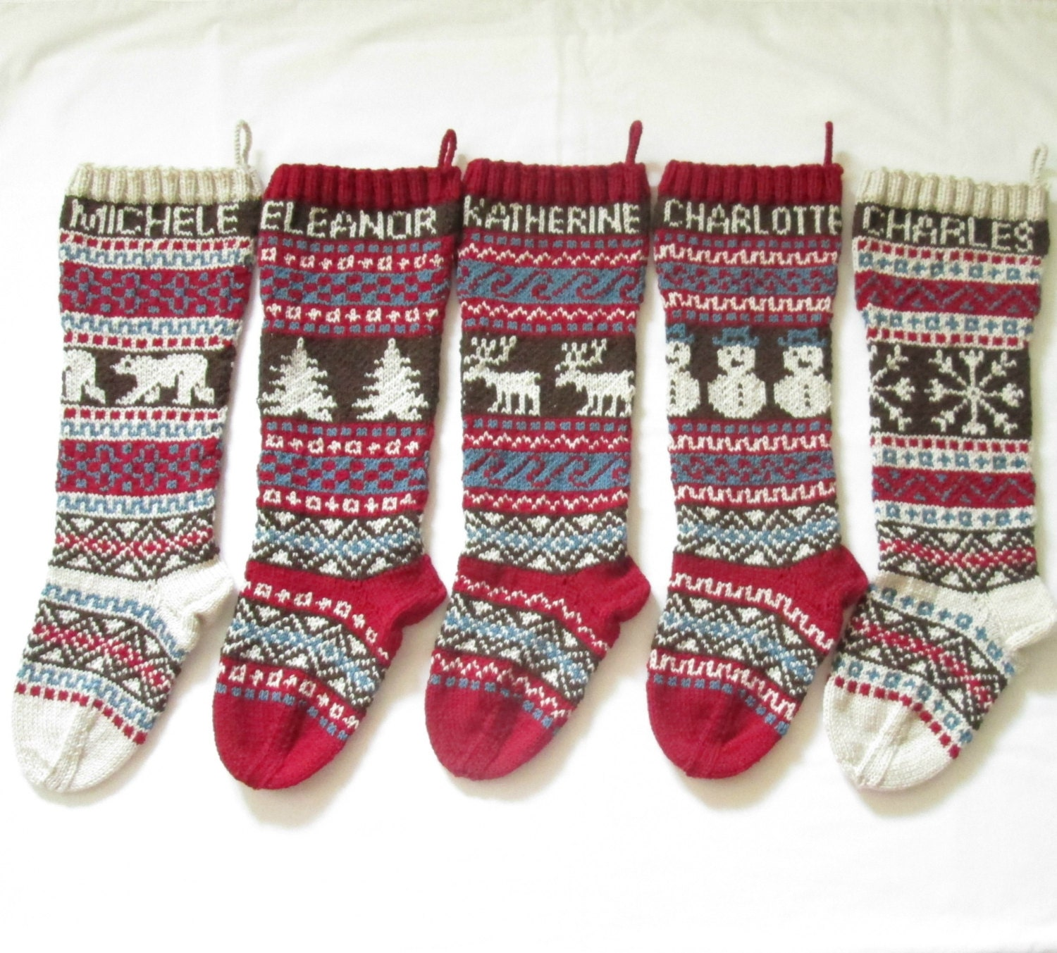 Knitted Christmas Stocking Patterns For Beginning : Personalized Knitted Christmas Stockings Set of 5 Hand
