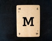 """Vintage Alphabet Card Letter """"M"""" Black and White, 3-1/2 inches tall (c.1937) - Wedding Table Letter, DIY Garland Cards"""