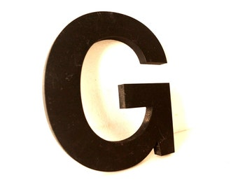 "Vintage Industrial Letter ""G"" 3D Sign Letter in Black Heavy Plastic (5"" tall) - Industrial Home Decor, Typography Letter, Altered Art"