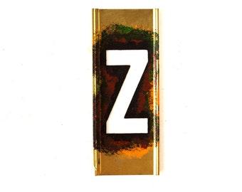 "Vintage Brass Stencil Letter ""Z"" Reese's Interlocking Stencils, 4"" tall (c.1950s) - Monogram Display, Shadow Box Letter, Art Supply"