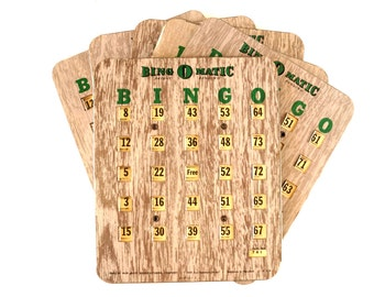 Vintage Metal Bingo Board Cards with Metal Shutters, Bing O Matic, Set of 6 (1950s) - Family Game Room Decor, Collectible, Altered Art